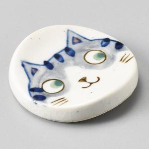陶雅 やんちゃ猫丸箸置 青|matakatsu