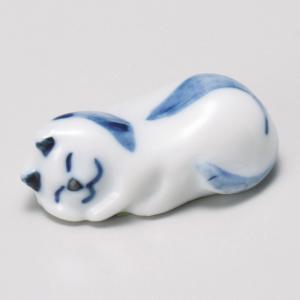 陶雅 箸置ねむり猫青|matakatsu