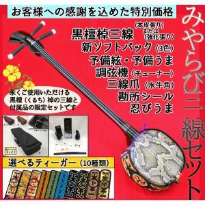 ☆本皮・強化張り&ティーガーが選べる! 黒檀三線 みやらびセット45|matayoshi34ten