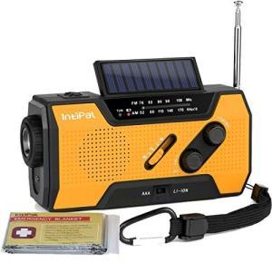 IntiPal 防災ラジオ ソーラー 手回しラジオ 2000mAH 非常用 ライト 災害用 停電緊急対策 電波強い AM/FM 電池式/充電式 サバイバルシート付き オレンジ|materialbeats