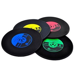 コースター アナログ LP レコード 4色セット ポイント消化|matsh