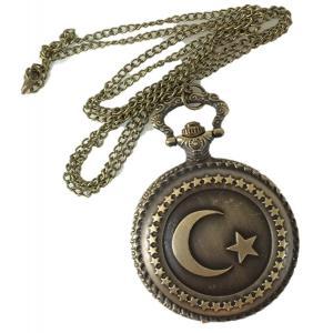 懐中時計 ネックレス アンティーク風 イスラム 三日月 星 ポイント消化|matsh