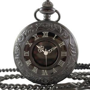 懐中時計 ネックレス レトロ アンティーク調 黒い懐中時計 ケース付|matsh