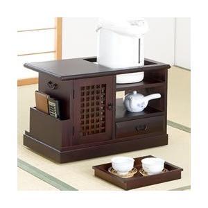 桐ポットワゴン トレー付き KP-1200 サイドチェスト キャビネット 和室 インテリア 桐ポット 和室収納 お茶|matsucame