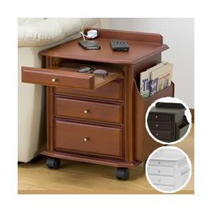 天然木ベッドサイドテーブル KP-920 サイドテーブル 布団まわり ベッド周り ナイトテーブル キャスター付 コンセント|matsucame