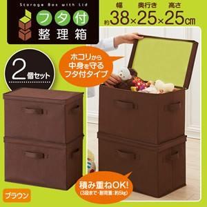 フタ付整理箱2個set ブラウン カラーボックスケース 蓋付 フタ付き収納ケース カラーBOX収納 取っ手付き ボックス収納 引き出|matsucame