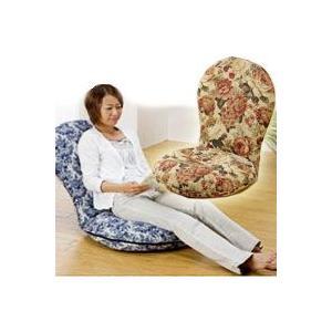 円満座椅子 ブラウン/ブルー SP-404 フロアチェア 円満座いす  ハイバックタイプの座椅子 低反発ウレタンの円座クッシ|matsucame