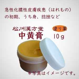 漢方薬 軟膏 中黄膏 ちゅうおうこう 10g 薬局製剤 化膿 皮膚炎 はれもの 打ち身 捻挫 アトピー|matsukawa-kanpo