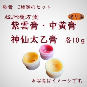 漢方薬 軟膏 紫雲膏 しうんこう 中黄膏 ちゅうおうこう 薬局製剤 神仙太乙膏 しんせんたいつこう 第2類医薬品 各10g お試し お得 セット|matsukawa-kanpo