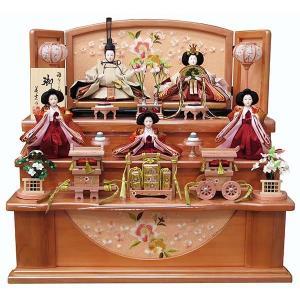 雛人形 パールピンク収納三段飾り 美光作 五人揃い コンパクト ひな人形
