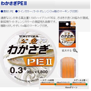 ユニチカ わかさぎPE2 0.2号 30m 高比重1.18|matsumoto