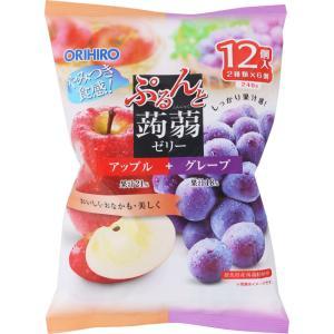 オリヒロプランデュ ぷるんと蒟蒻ゼリーパウチ アップル+グレープ 20g×12個