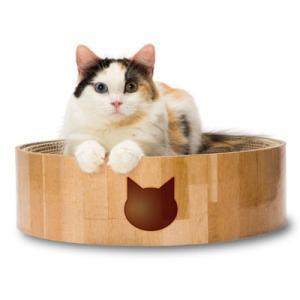 C:猫壱 バリバリボウル 丸形爪とぎベッド 猫柄 matsunami