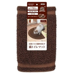 C:ペティオ necoco 猫トイレマット ブラウン|matsunami