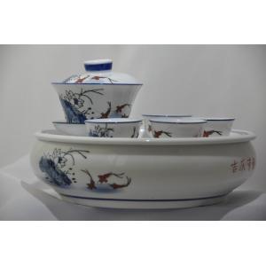 吉興有余蓋碗セット 手彫り-中国茶を楽しむ為の必要道具|matsurika-jp