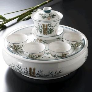 富貴竹蓋碗セット 手彫り-中国茶を楽しむ為の必要道具|matsurika-jp