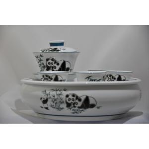 パンダ蓋碗セット 手彫り-中国茶を楽しむ為の必要道具|matsurika-jp