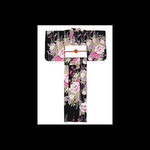 【送料無料】嵐山よしむらのゆかた 牡丹と藤(黒)|matsuriya-sonami