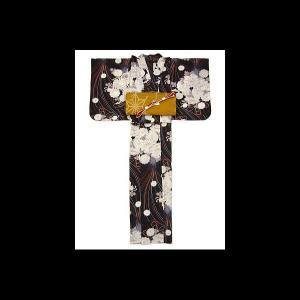 【送料無料】嵐山よしむらのゆかた 華くす玉(黒)|matsuriya-sonami