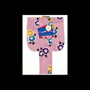 【送料無料】撫松庵の振袖ゆかた 幾何縞にバラ|matsuriya-sonami