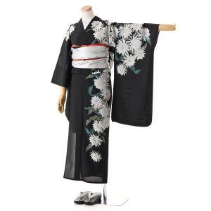 送料無料 撫松庵の振袖ゆかた 絵羽 月下美人(クロ) matsuriya-sonami