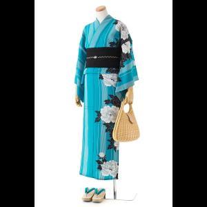 撫松庵の創作 着て見てわかるゆかた 花と孔雀 (スミクロ)|matsuriya-sonami