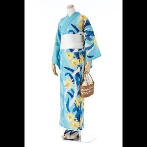 【送料無料】撫松庵の創作 着て見てわかるゆかた 孔雀サボテン(ミズイロ)|matsuriya-sonami
