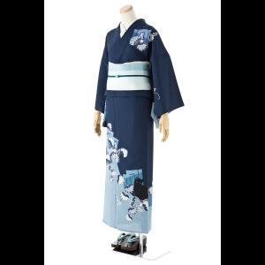 【送料無料】撫松庵の創作 絵羽ゆかた 葵猫(紺)|matsuriya-sonami