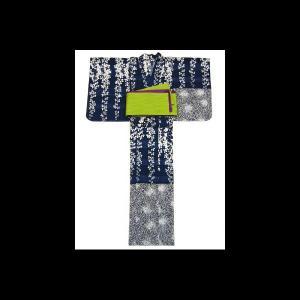 【送料無料】撫松庵の創作 着て見てわかるゆかた 萩と菊(紺)|matsuriya-sonami