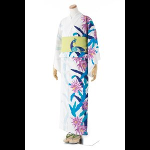 送料無料 撫松庵の創作 着て見てわかるゆかた 孔雀サボテン(オフホワイト) matsuriya-sonami