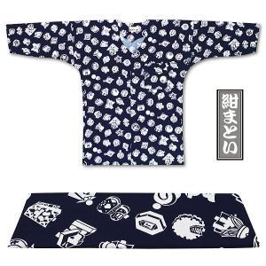 東京江戸一・紺まとい(柄)0号サイズ(85)〜3号サイズ(115)子供鯉口シャツ単品|matsuriya-sonami