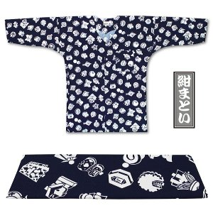 東京江戸一・紺まとい(柄)4号サイズ(125)・5号サイズ(135)子供鯉口シャツ単品|matsuriya-sonami