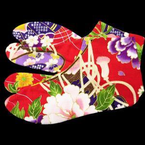 送料無料 金彩牡丹と桜(赤)お洒落な和柄足袋 義若オリジナル|matsuriya-sonami