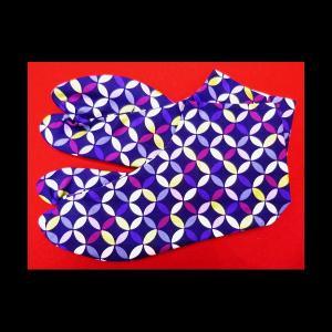 送料無料 金彩モダン七宝(紫)お洒落な和柄足袋 義若オリジナル|matsuriya-sonami