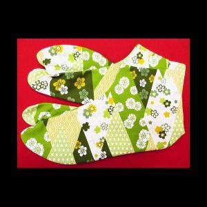 送料無料 菱切りばめに小花(抹茶緑)お洒落な和柄足袋 義若オリジナル|matsuriya-sonami