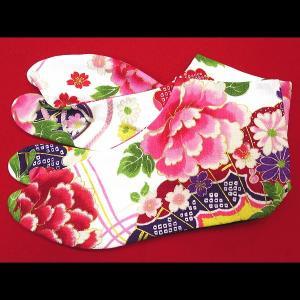 送料無料 金彩牡丹と桜(赤白)お洒落な和柄足袋 義若オリジナル|matsuriya-sonami