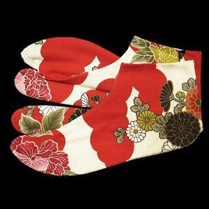 送料無料 雲どりに牡丹 お洒落な和柄足袋 義若オリジナル|matsuriya-sonami