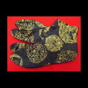 送料無料 金彩吉祥丸紋(黒金)お洒落な和柄足袋 義若オリジナル|matsuriya-sonami