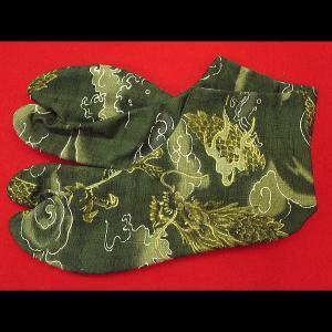 金彩雲龍(抹茶緑)お洒落な和柄足袋 義若オリジナル