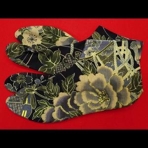 送料無料 金彩牡丹と桜(黒カーキ)お洒落な和柄足袋 義若オリジナル|matsuriya-sonami