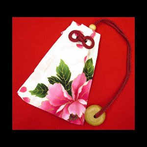 金彩桜吹雪に大牡丹(白) 和柄腰下げ巾着|matsuriya-sonami