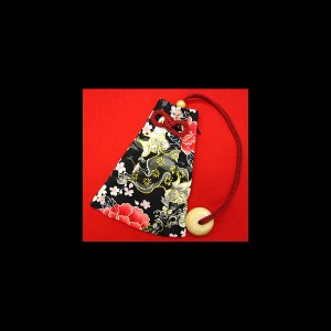 金彩唐獅子牡丹と桜吹雪(黒赤) 和柄腰下げ巾着|matsuriya-sonami