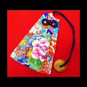 雲どりに牡丹(ブルー) 和柄腰下げ巾着|matsuriya-sonami