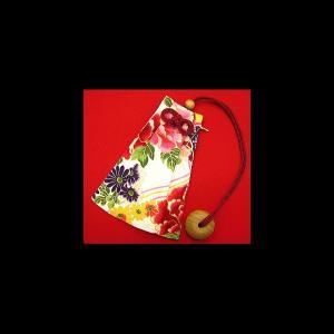 金彩牡丹と桜(赤白) 和柄腰下げ巾着|matsuriya-sonami