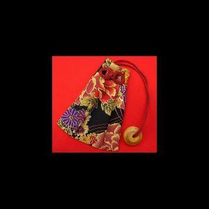金彩牡丹と桜(黒赤) 和柄腰下げ巾着|matsuriya-sonami