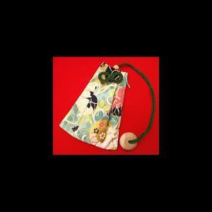 金彩葵唐草紋様(黄緑) 和柄腰下げ巾着|matsuriya-sonami