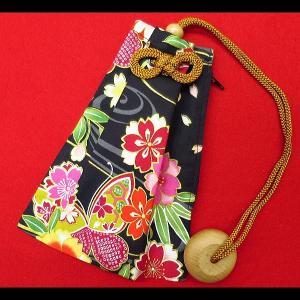 金彩流水に花と蝶(黒) 和柄腰下げ巾着|matsuriya-sonami