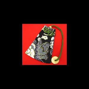 金彩牡丹と桜(黒) 和柄腰下げ巾着|matsuriya-sonami
