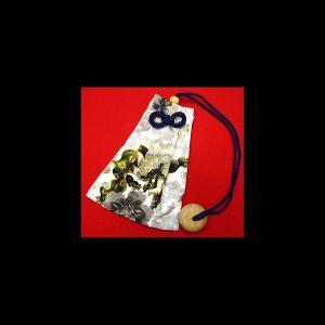 金彩唐獅子牡丹と桜吹雪(白) 和柄腰下げ巾着|matsuriya-sonami