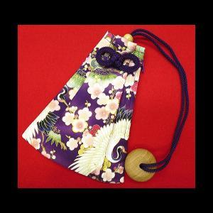 金彩飛翔鶴に梅と松(紫) 和柄腰下げ巾着|matsuriya-sonami